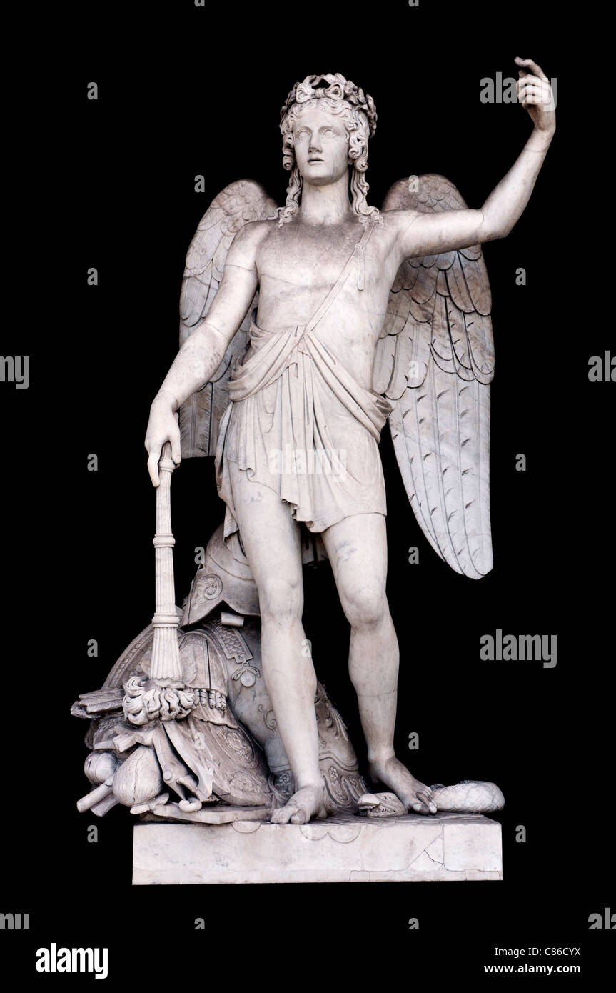 Angel of the Arts by Filippo Gnaccarini in Pincio's Nymphaeum, Rome Italy - Stock Image