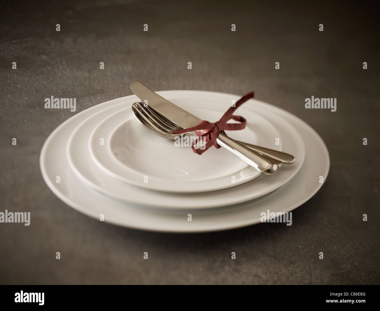 Plate stack/ Place setting - Stock Image