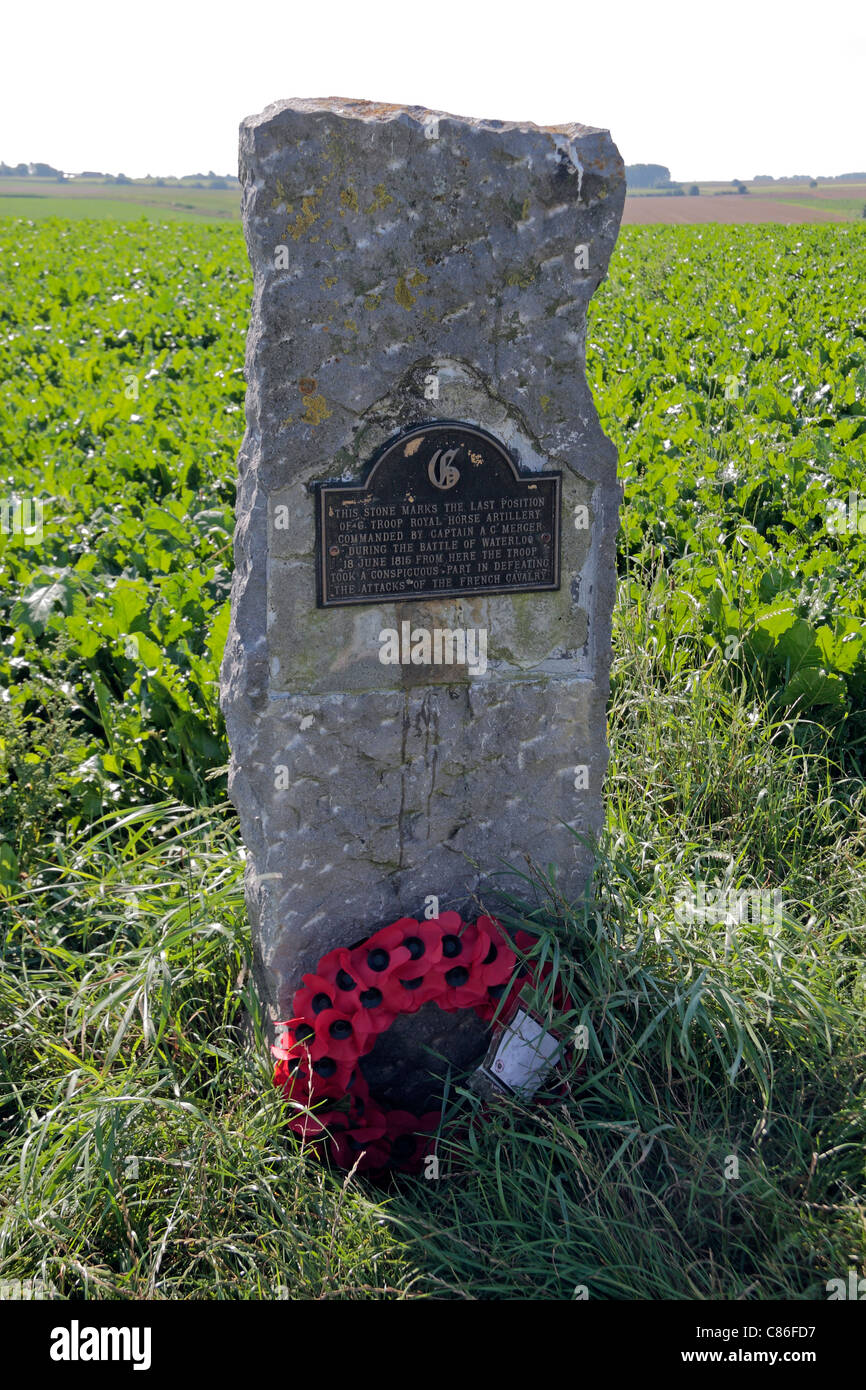 The memorial stone marking where Mercer's cavalry troop fought French Cavalry on the Battlefield in Waterloo, - Stock Image