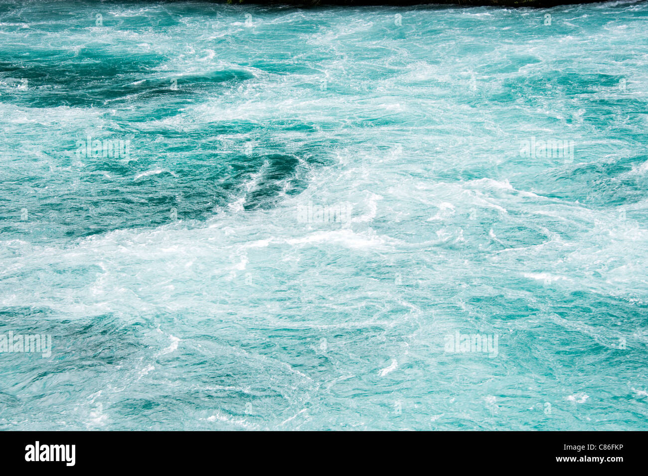 The Fast Flowing Waikato River at Huka Falls near Taupo North Island New Zealand - Stock Image