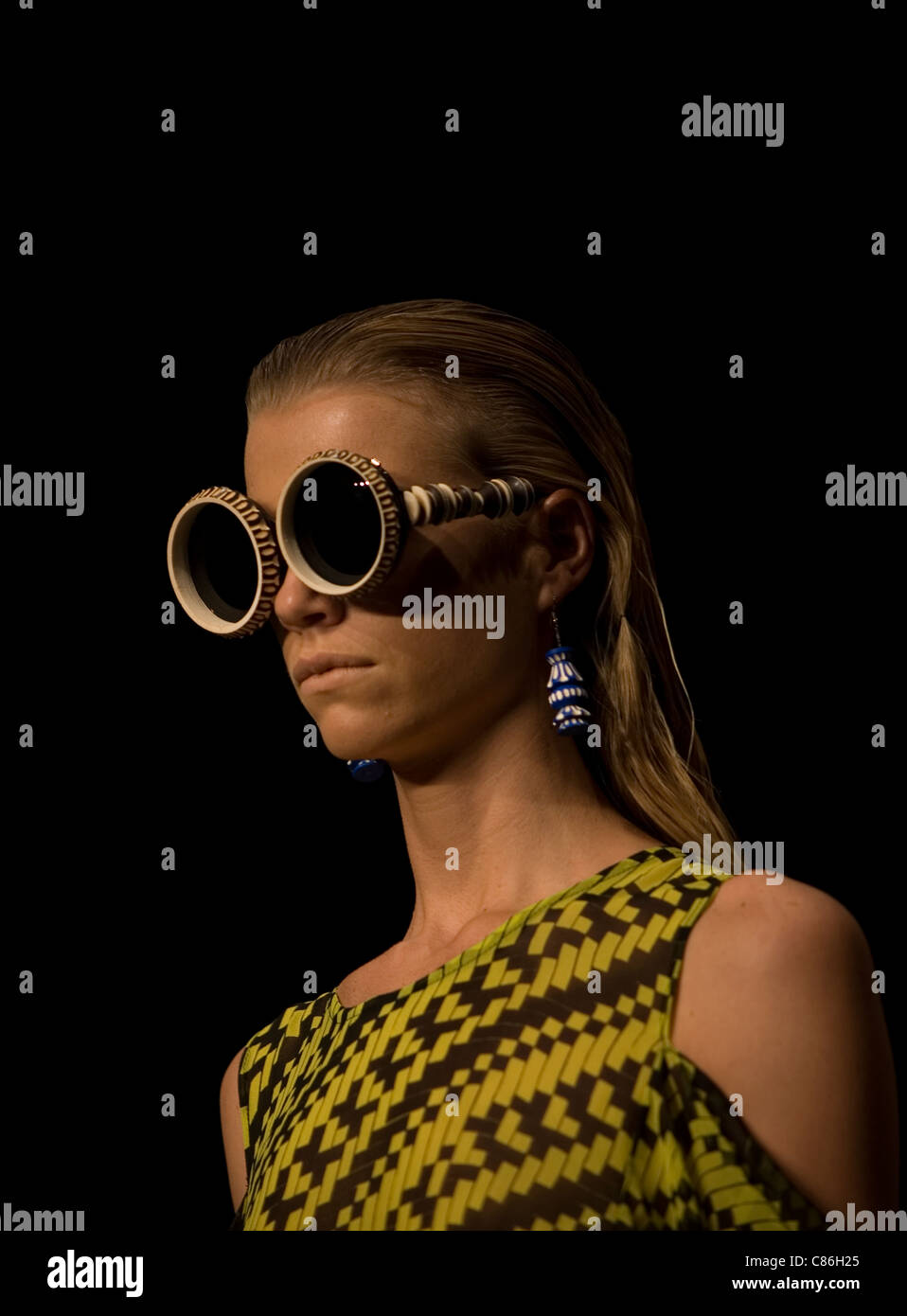 A Model Wearing Big Sunglasses By Mexican Designer Carla Fernandez Stock Photo Alamy