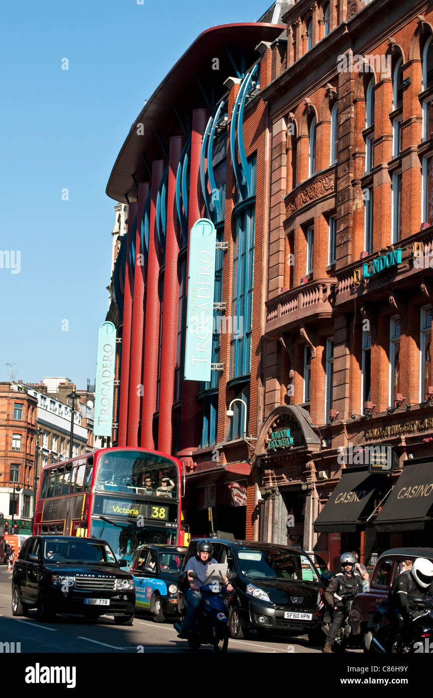 Traffic on Shaftesbury Avenue and Trocadero building, London, United Kingdom - Stock Image