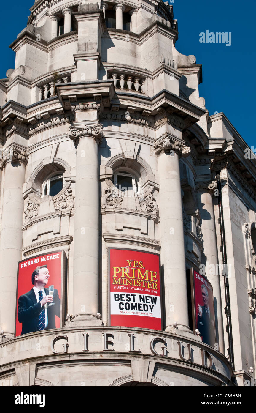 Gielgud Theatre showing Yes Prime Minister on Shaftesbury Avenue, London, United Kingdom - Stock Image