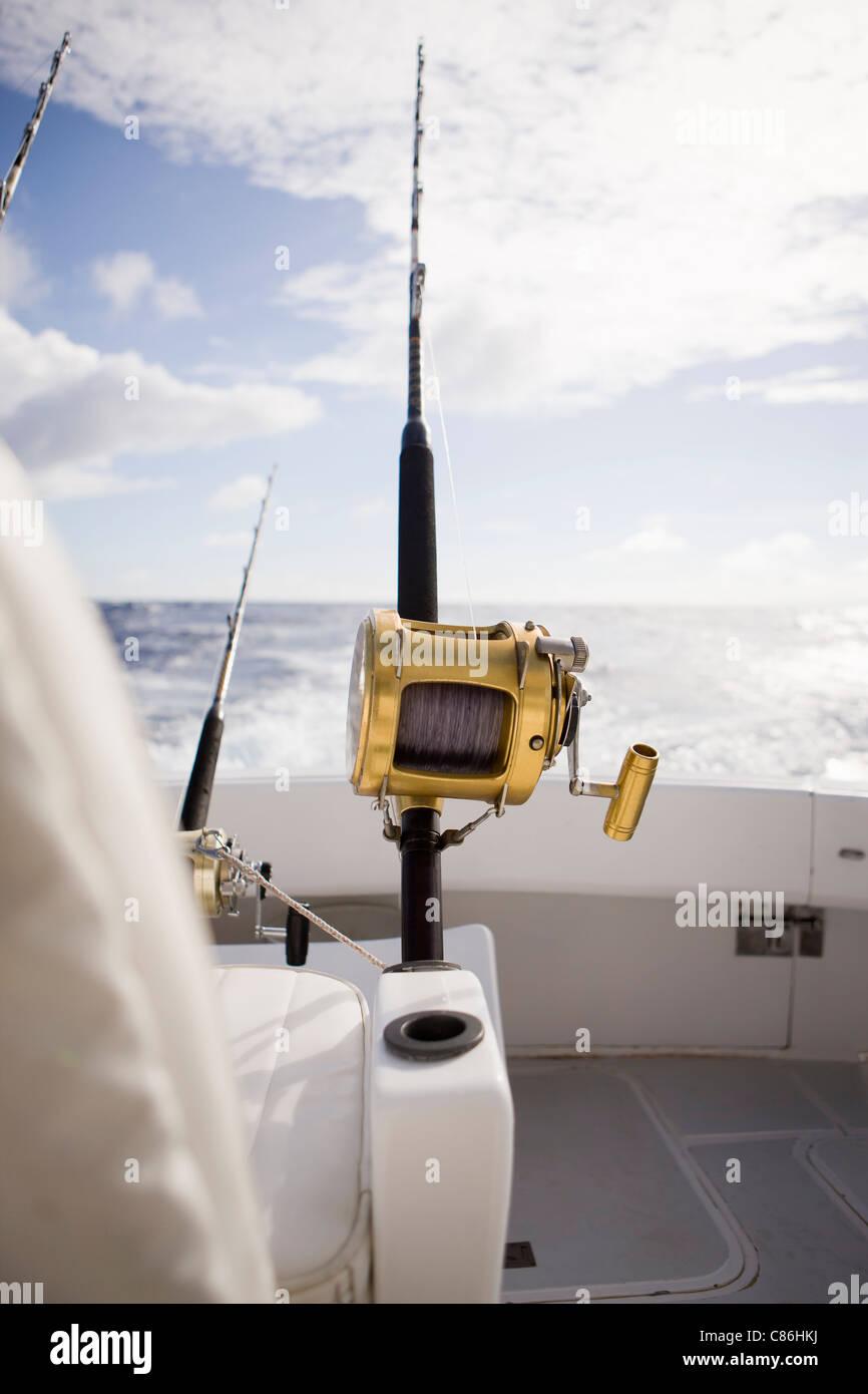 Fishing rod anchored on boat - Stock Image