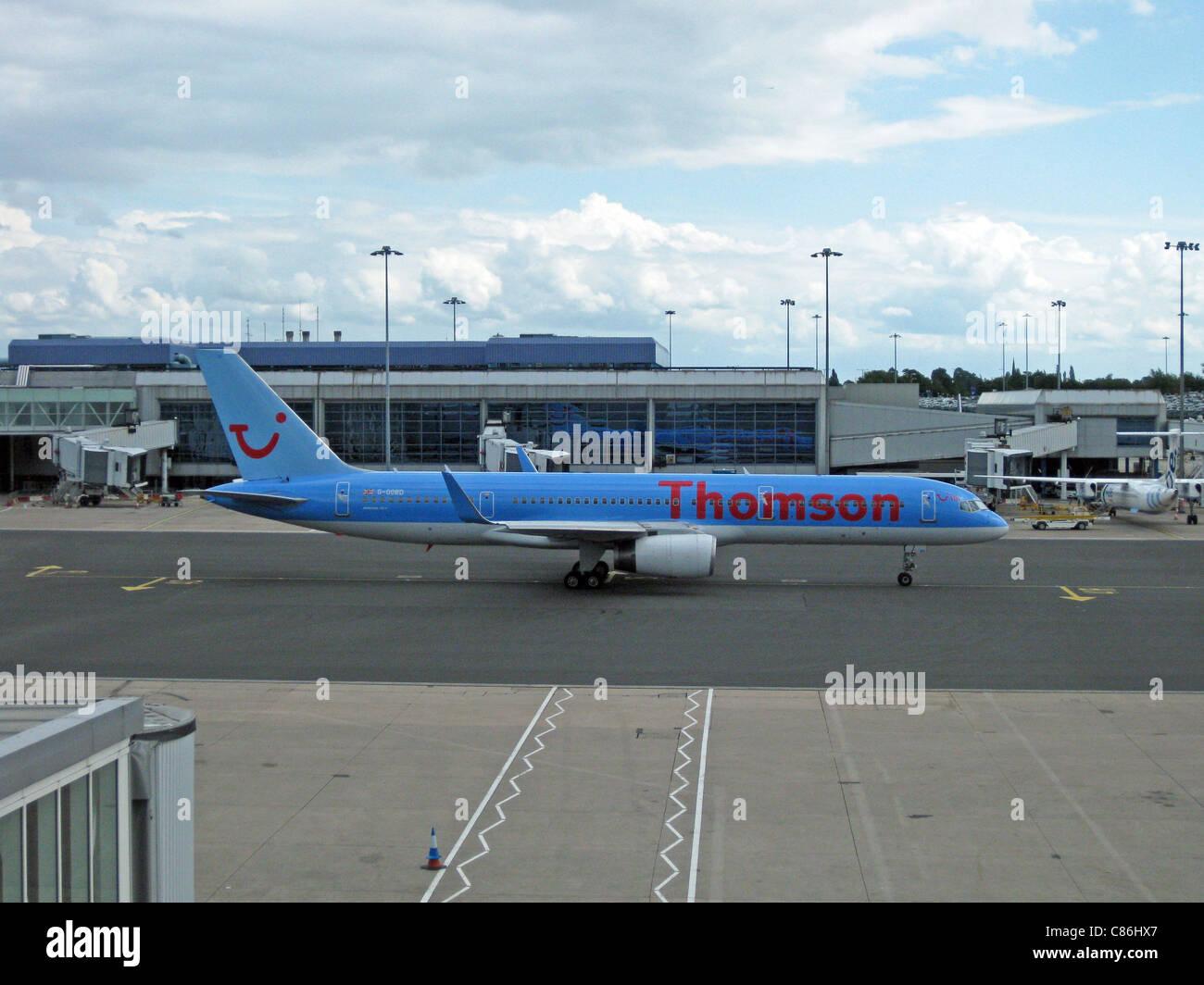 Thomson Airways Boeing 757-200 with blended winglets, registration number G-OOBD, Birmingham International Airport, - Stock Image