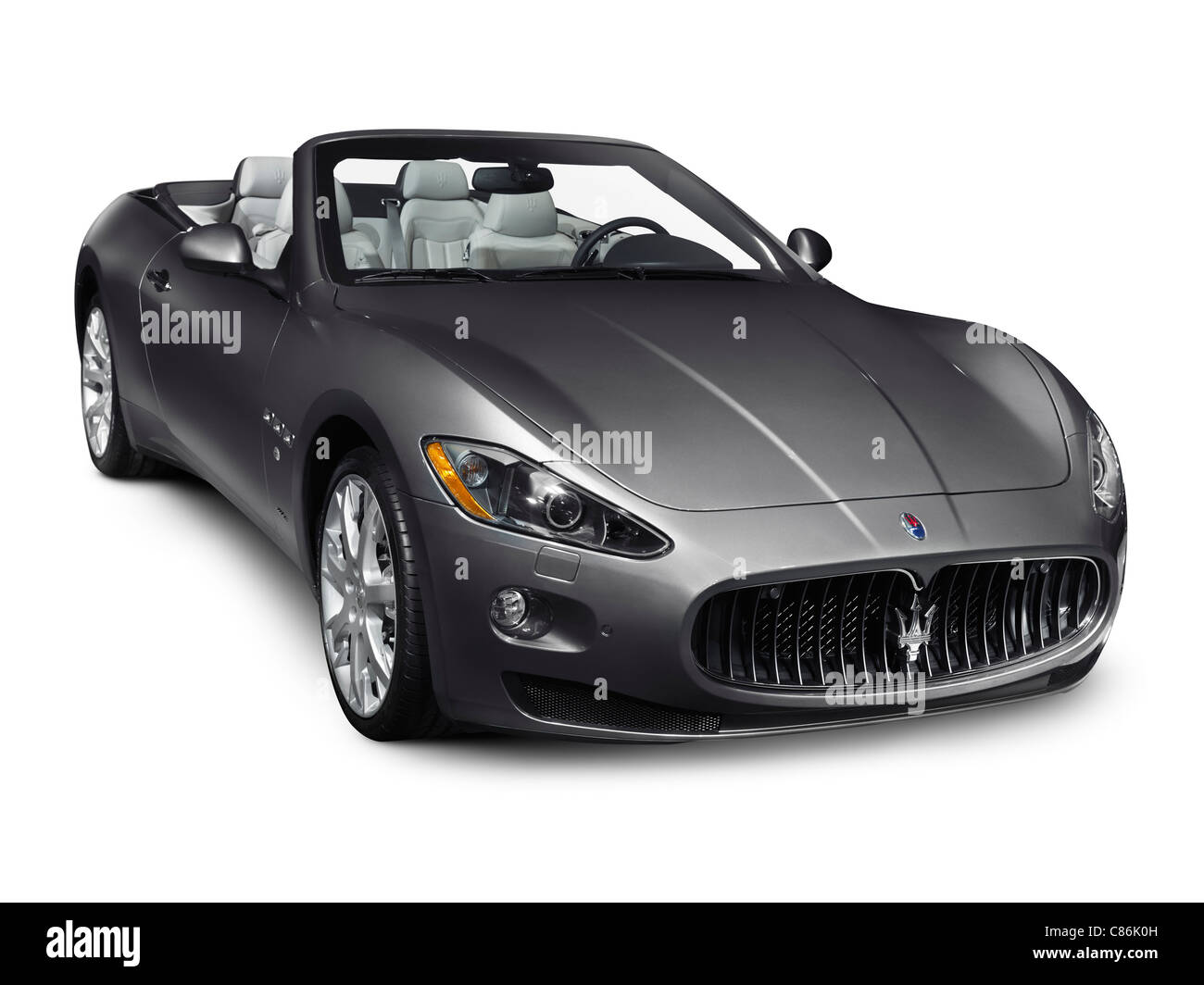 2011 Maserati GranTurismo Convertible GranCabrio luxury car isolated on white background - Stock Image
