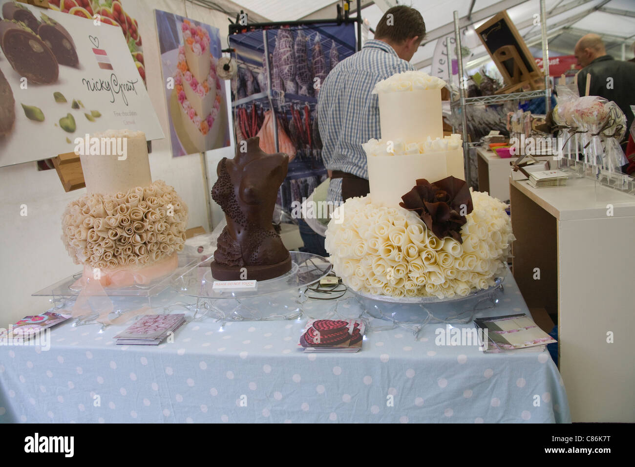 Cornwall England UK Chocolate sculptures displayed on Market stall of locally produced hand crafted chocolate products - Stock Image