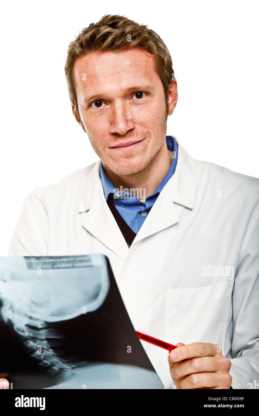 young confident medic hold xray - Stock Image
