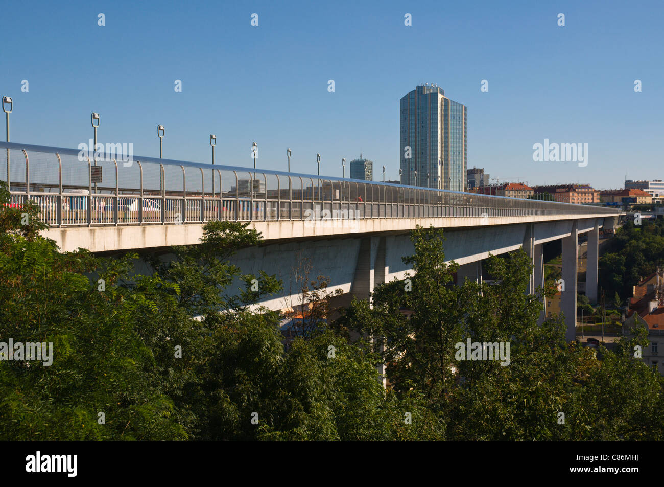 Nusle flyover bridge Prague Czech Republic Europe - Stock Image