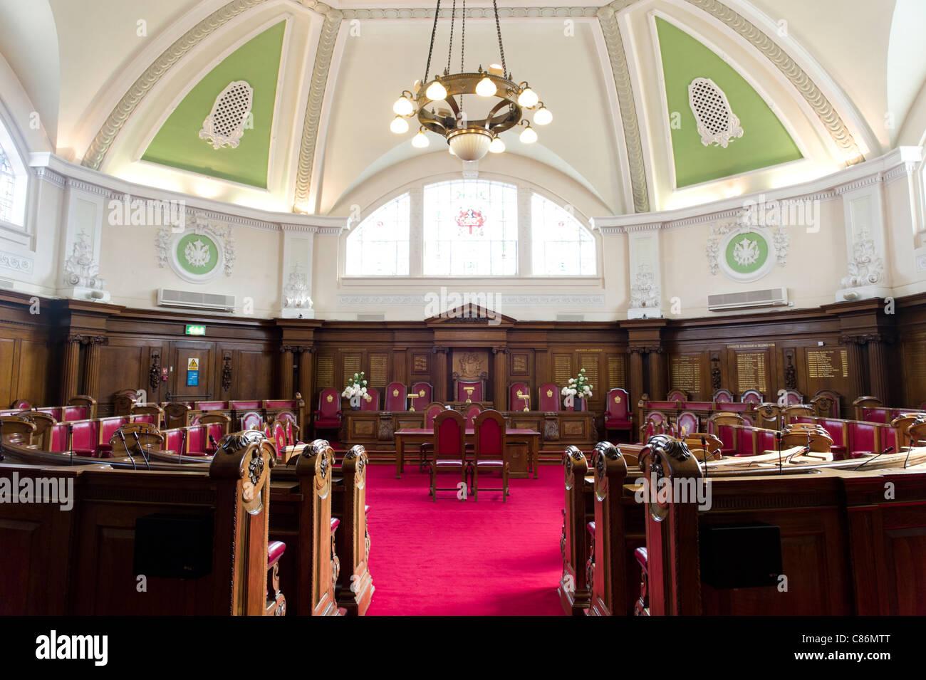 Council chamber at Islington town hall, London, England, UK - Stock Image