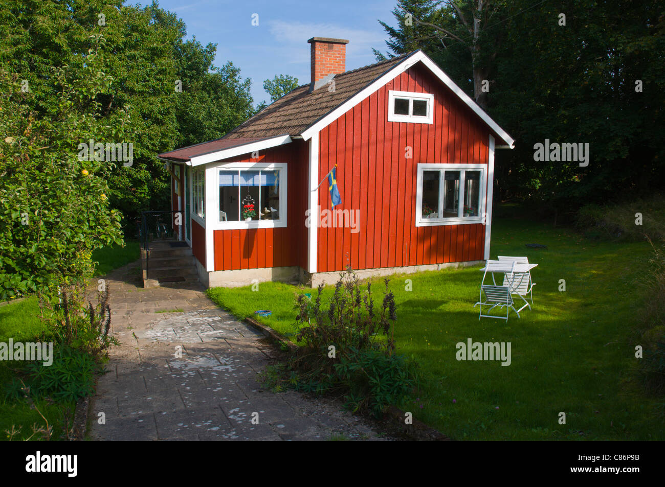 Superieur Typical Swedish Summer Holiday Home On Aspö Island In Blekinge County  Southern Sweden Europe   Stock