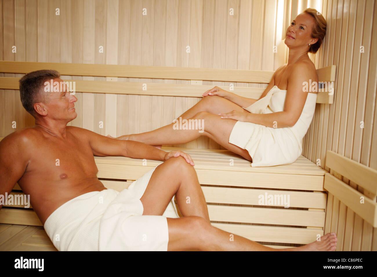 Couple in sauna - Stock Image