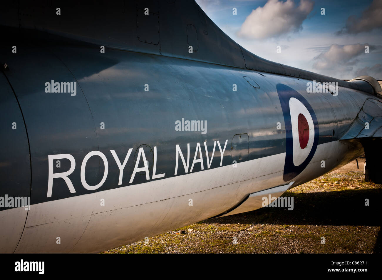 Fuselage from a Royal Navy jet plane - Stock Image