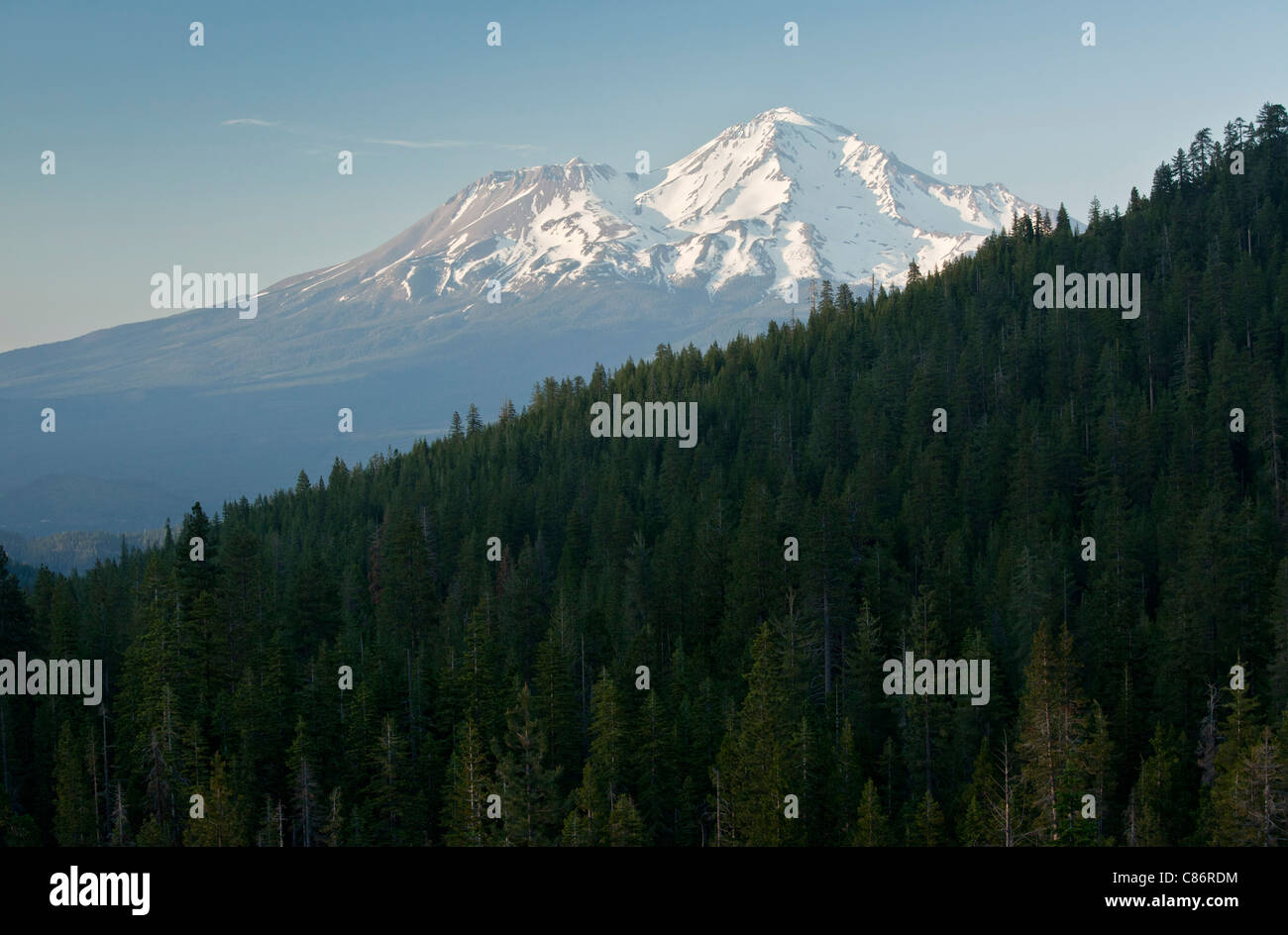 Mount Shasta, from the west; north California, USA - Stock Image