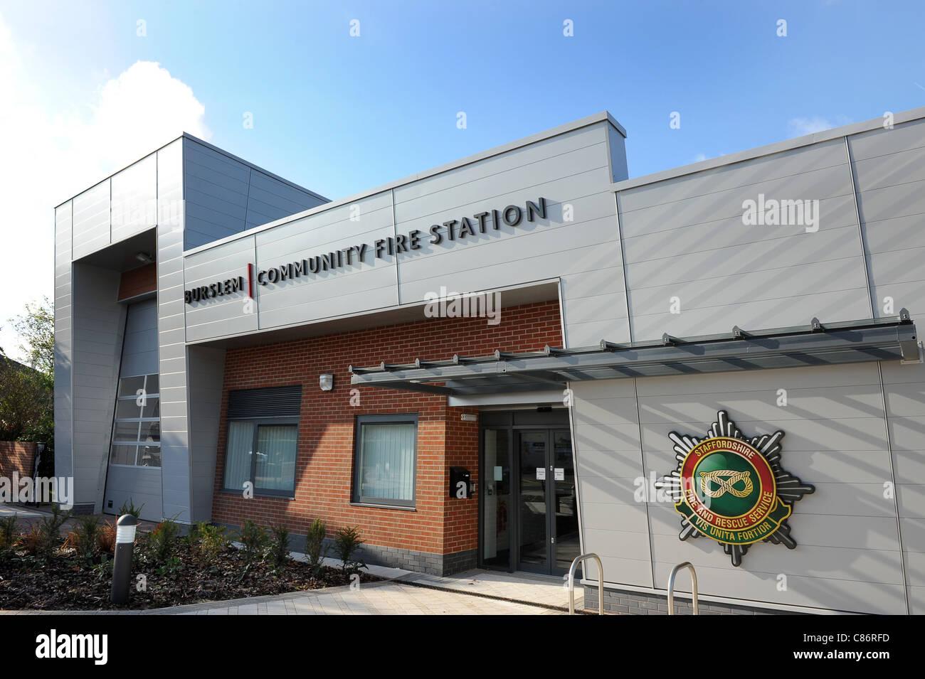 Staffordshire Fire and Rescue Service Burslem Community Fire station Stoke on Trent England Uk - Stock Image