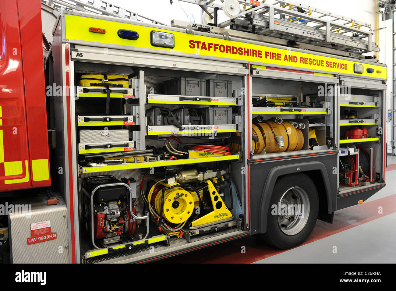Staffordshire Fire Service fire appliance equipment England Uk - Stock Image
