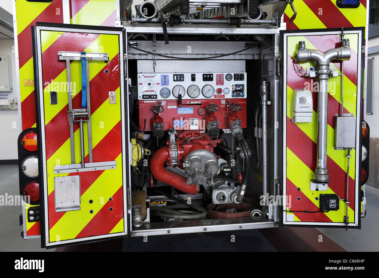 Staffordshire Fire Service fire engine appliance pumps - Stock Image