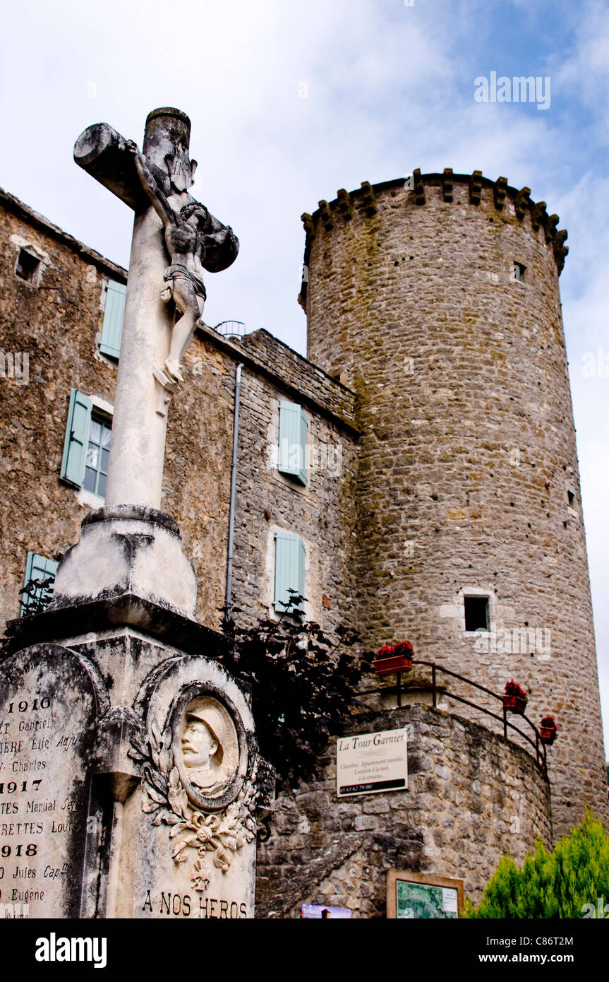 Walled Knights Templar town of St Eulalie de Cerdon on the Plateau du Larzac; Aveyron in the Midi Pyrenees; France - Stock Image