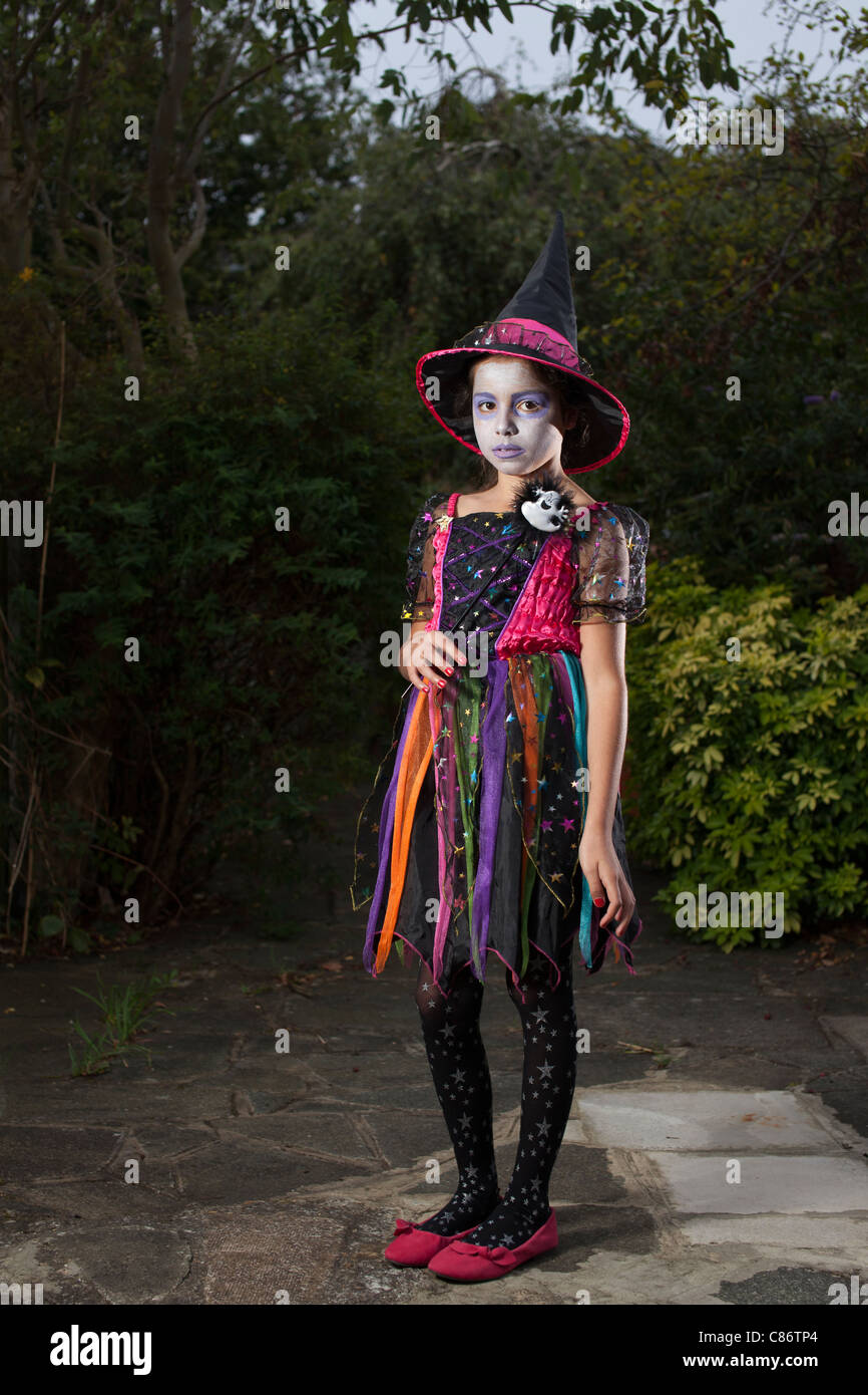 9 Years Old Halloween Childhood Girl Outfits Witch Stock Photos 9