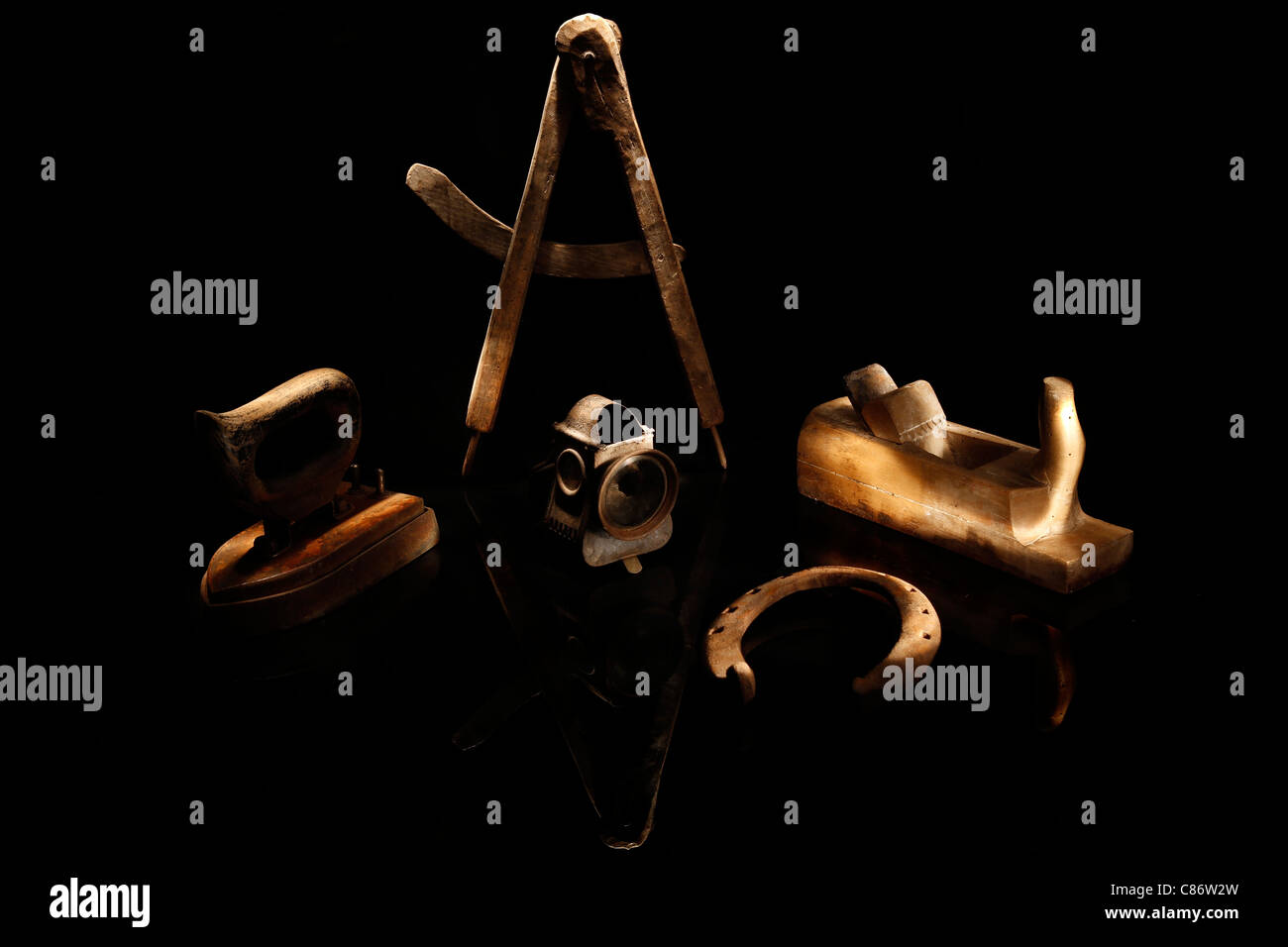 Various old handcraft articles - Stock Image