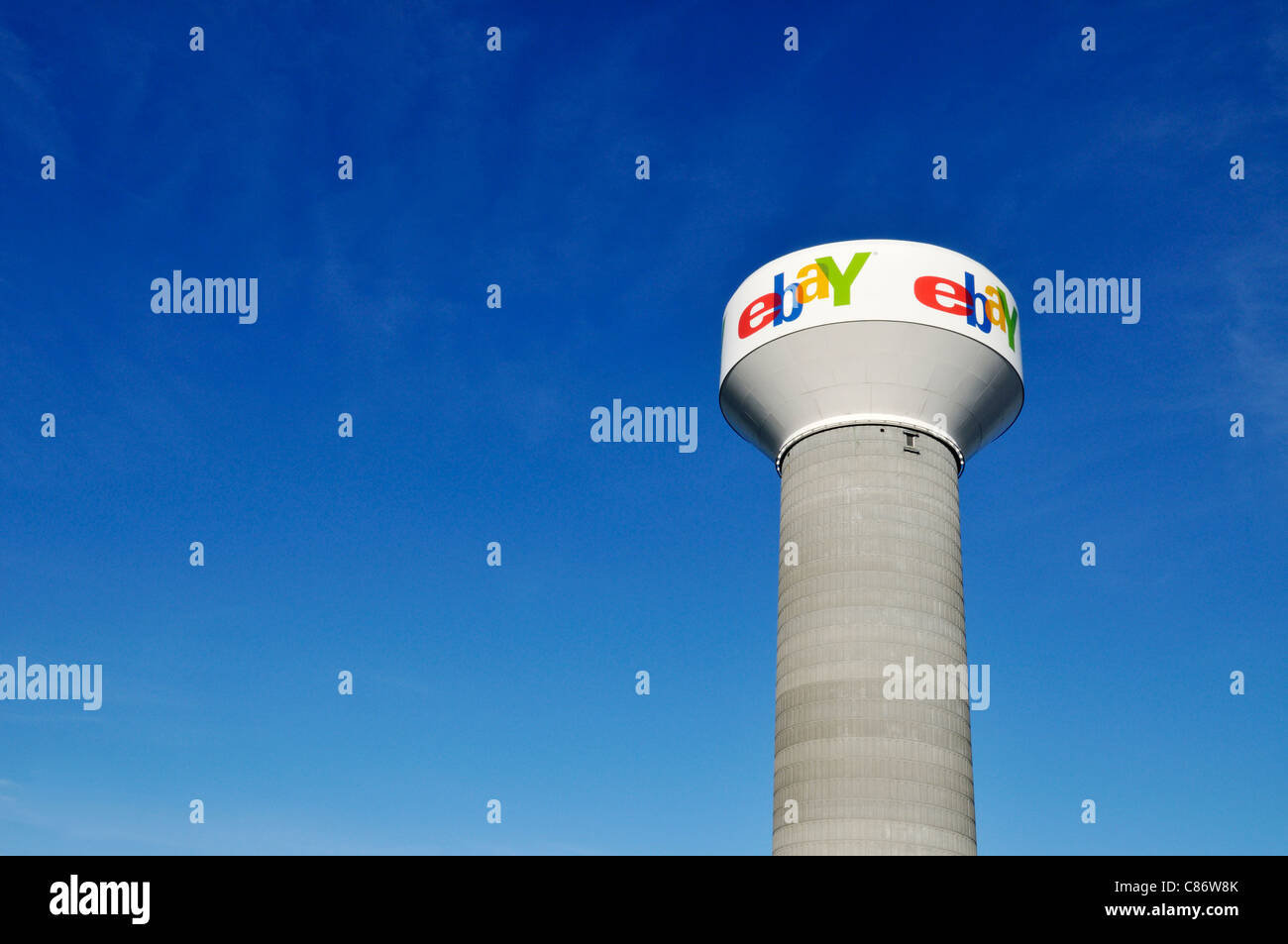 ebay logo on water tower on a clear blue sky day. USA - Stock Image