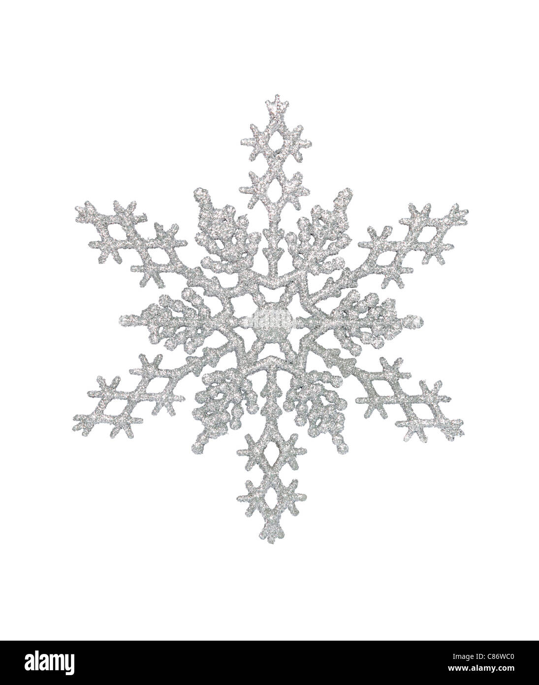 Silver snowflake, isolated w/clipping path - Stock Image