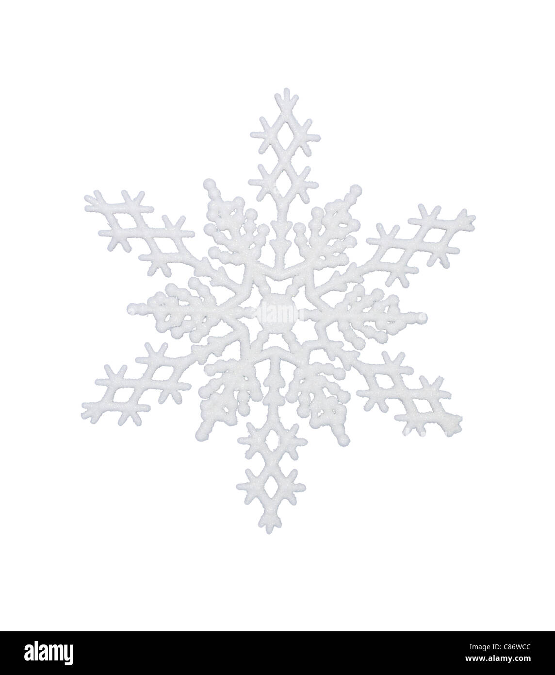 White snowflake, isolated w/clipping path - Stock Image