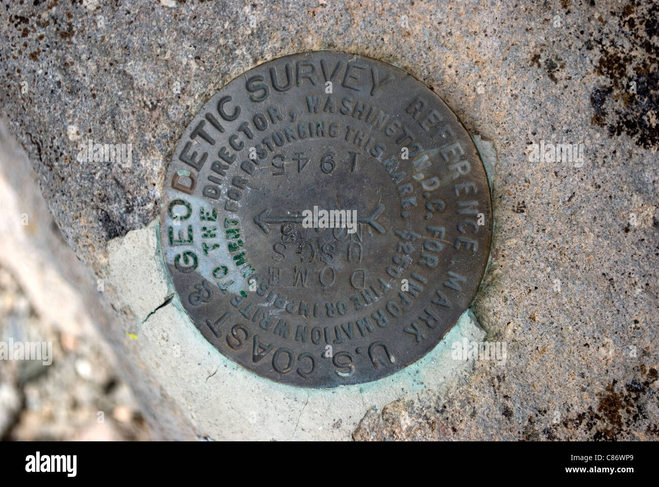 A reference marker found in the Santa Fe National Forest denoting the date and location of a geological survey marker. - Stock Image