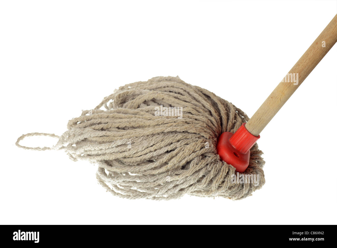 Old Mop Isolated on White Background - Stock Image