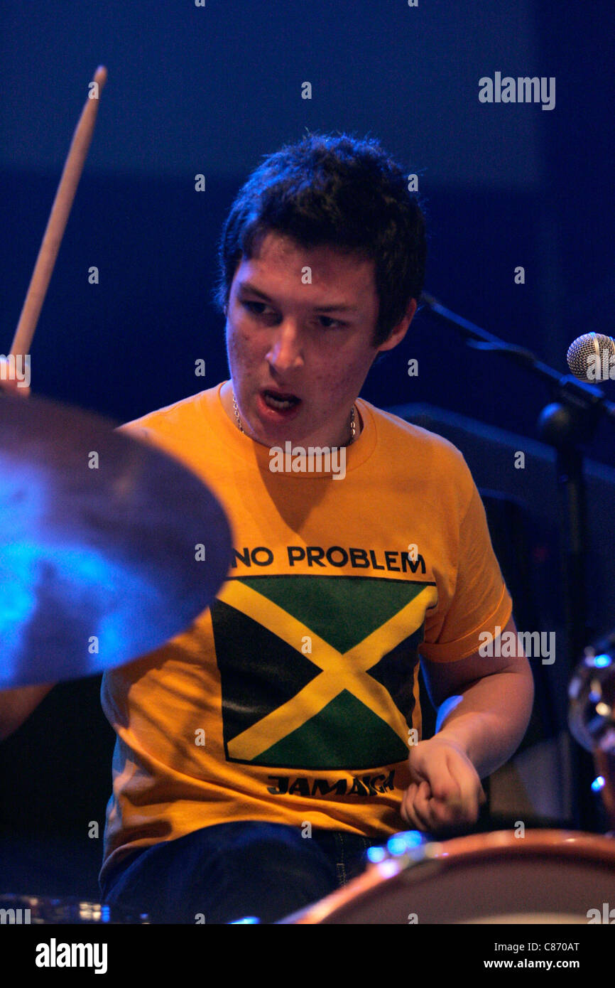 Matt Helders Drummer With The Arctic Monkeys Performs On Stage At Stock Photo Alamy