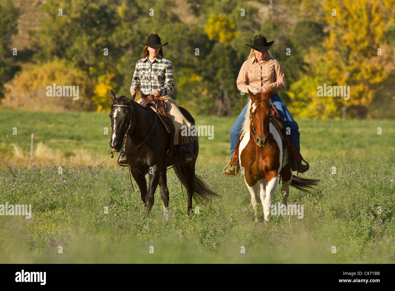 Two women ride across a meadow at dusk in south Dakota - Stock Image