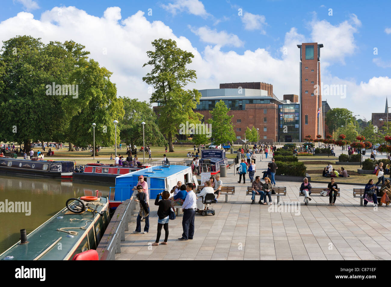 View across the Canal Basin and Bancroft Park to the Royal Shakespeare Theatre, Stratford-upon-Avon, Warwickshire, - Stock Image