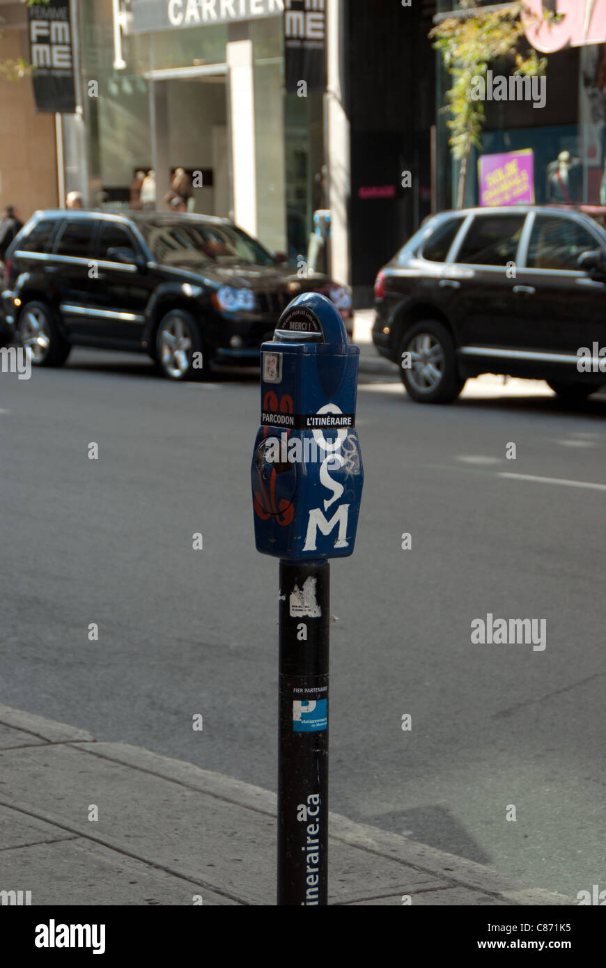 Parking old meter Montreal, Quebec, Canada - Stock Image