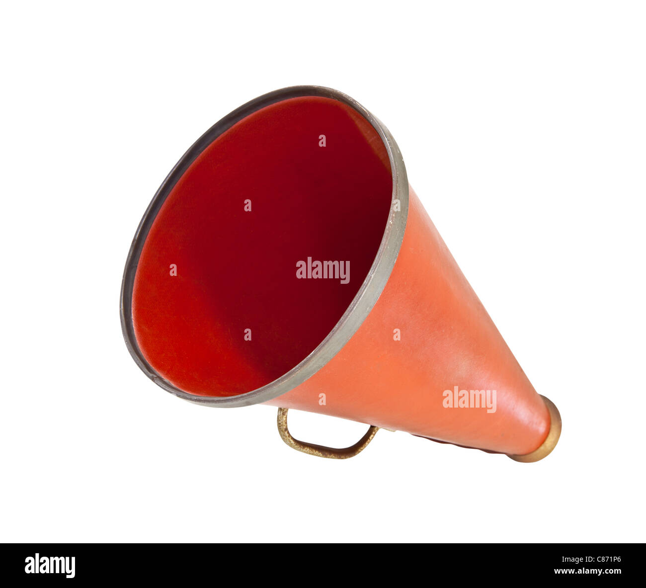 Vintage megaphone from the 1920's isolated on white. Stock Photo
