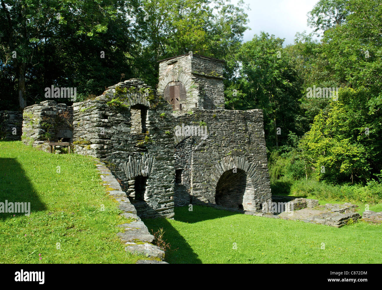 The restored remains of the Duddon Iron Works and furnace, near Broughton, Cumbria, England UK - Stock Image