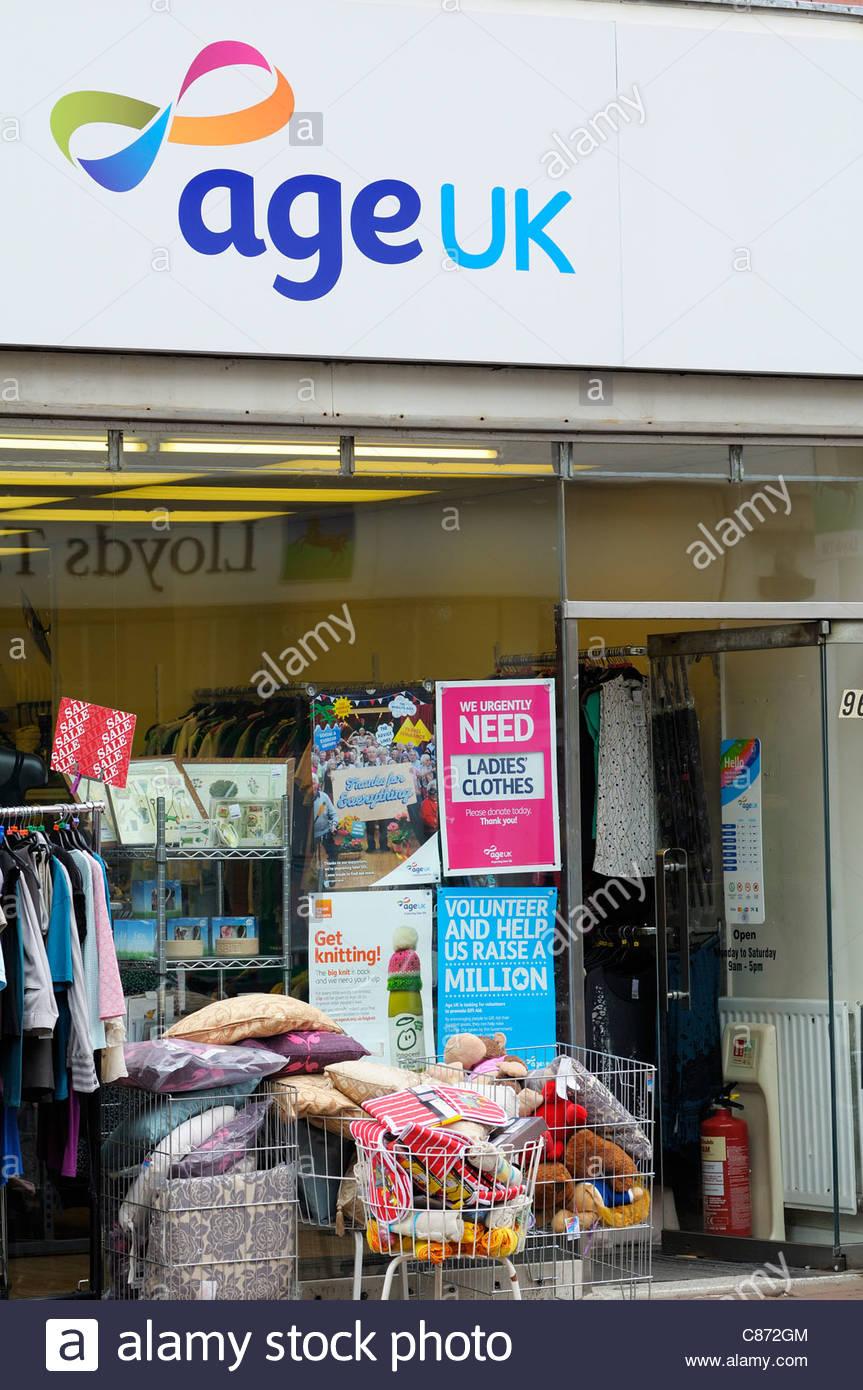 Age UK charity shop, Poole, Dorset England - Stock Image