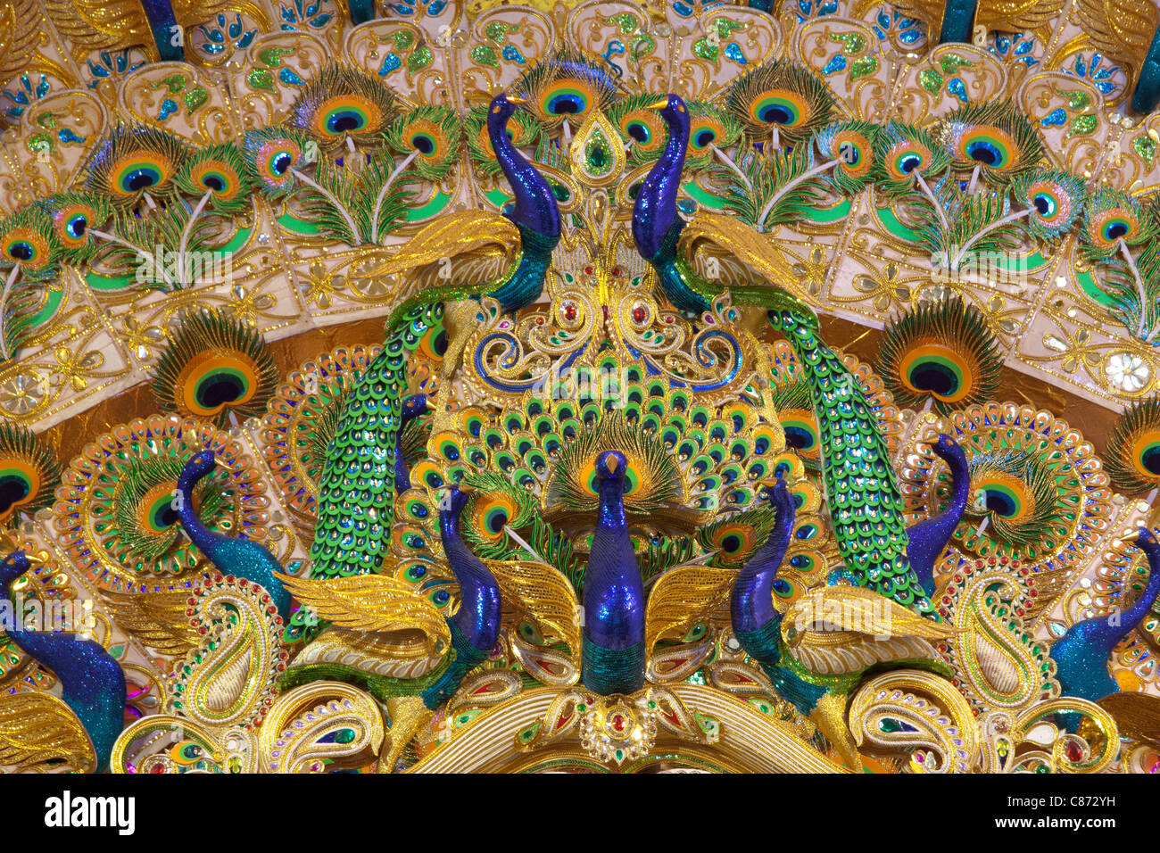Peacock motif stock photos peacock motif stock images for Salon decor international kolkata west bengal