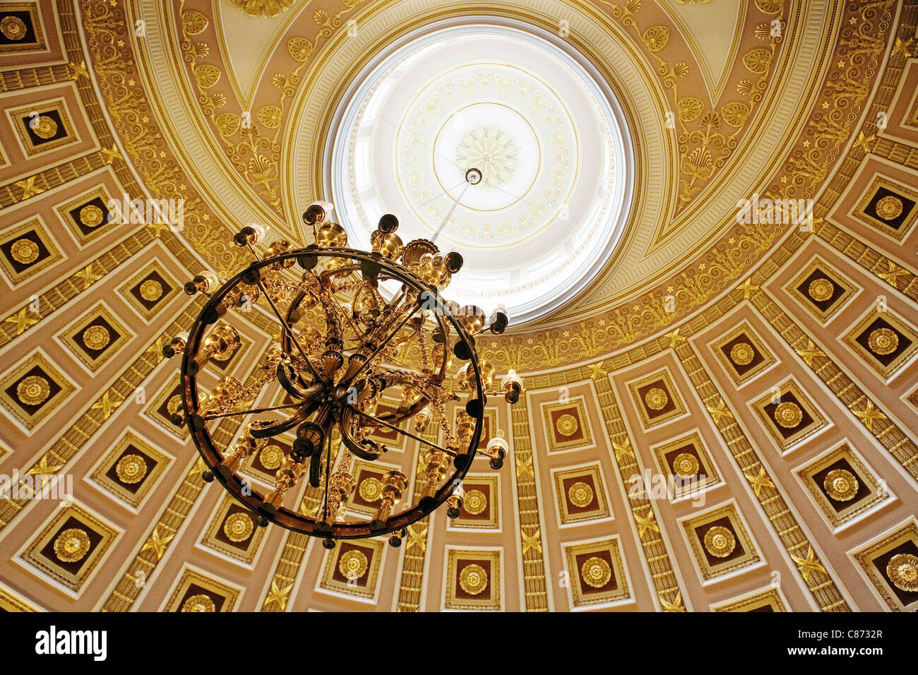 The chandelier and roof, National Statuary Hall, the Capitol building, Washington DC USA - Stock Image