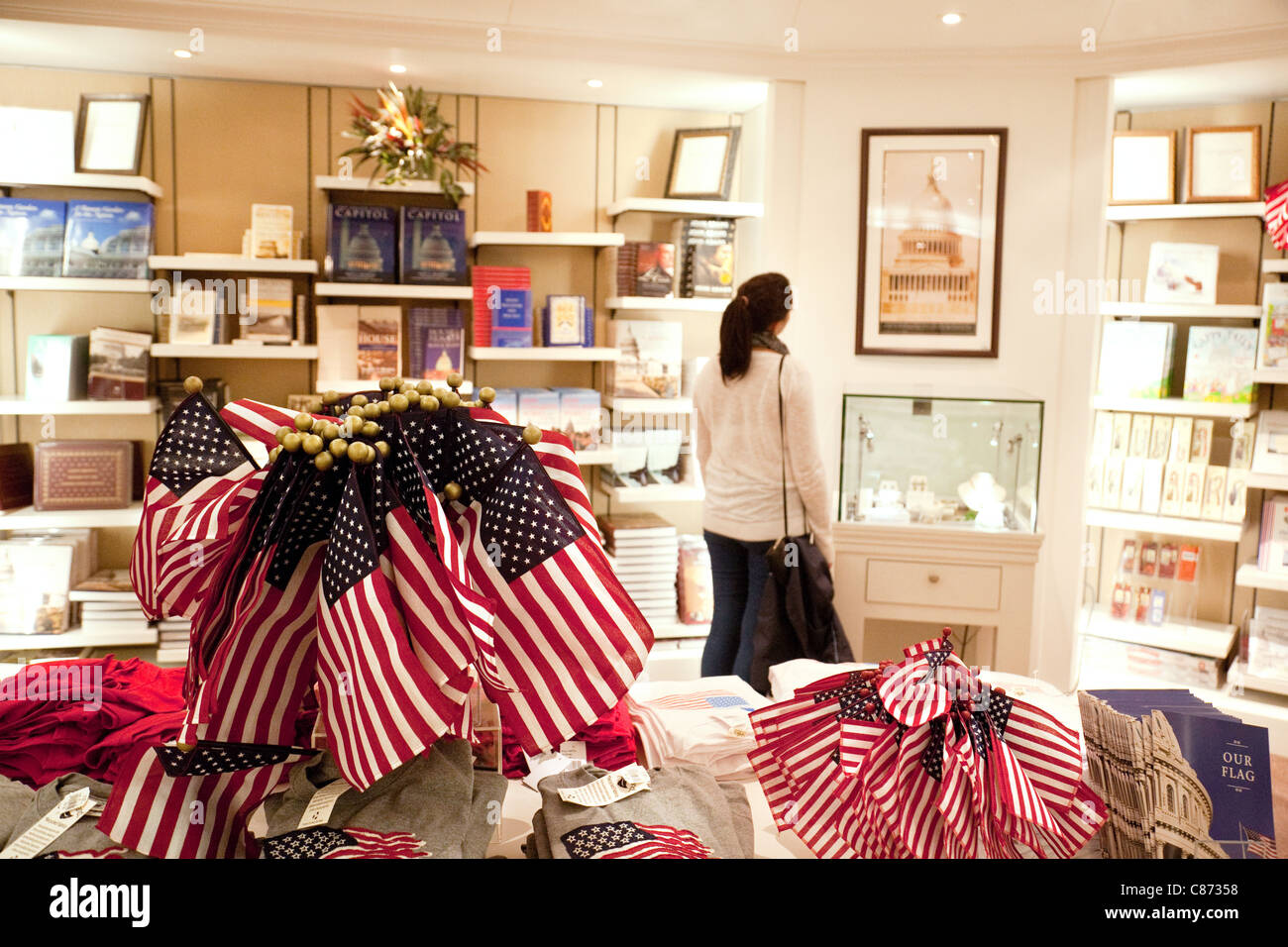 Tourist in the Capitol visitor center shop, Washington DC USA - Stock Image