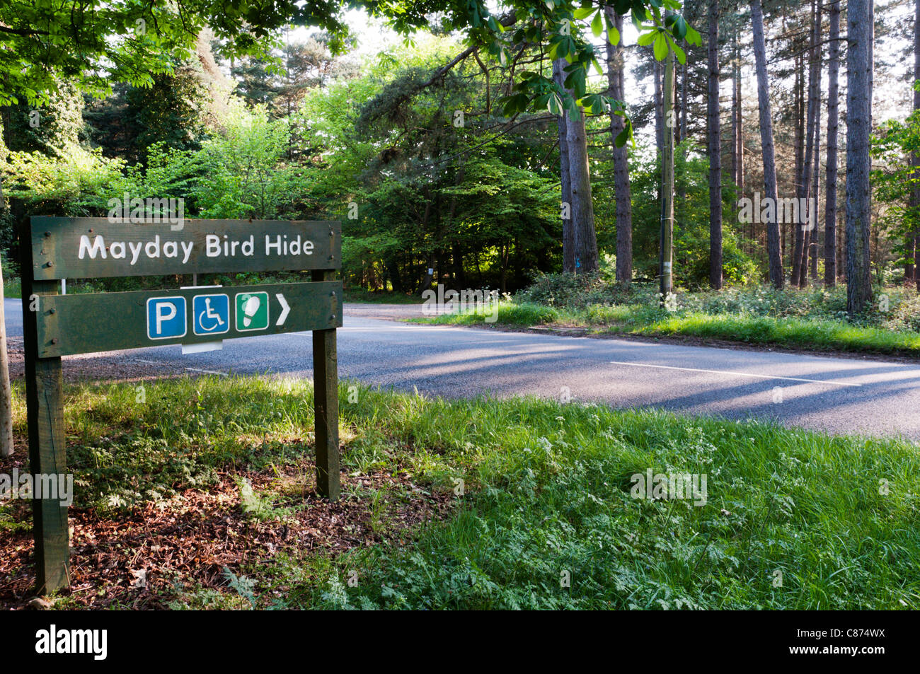 Sign for Mayday Bird Hide in Thetford Forest.  See C874RC for left-pointing sign. - Stock Image