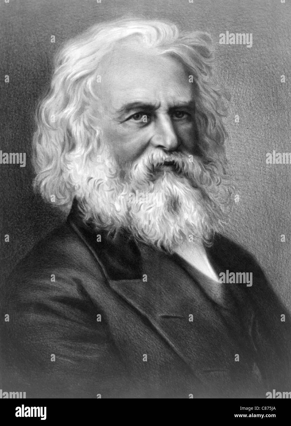 Vintage portrait of American poet and educator Henry Wadsworth Longfellow (1807 - 1882). Stock Photo