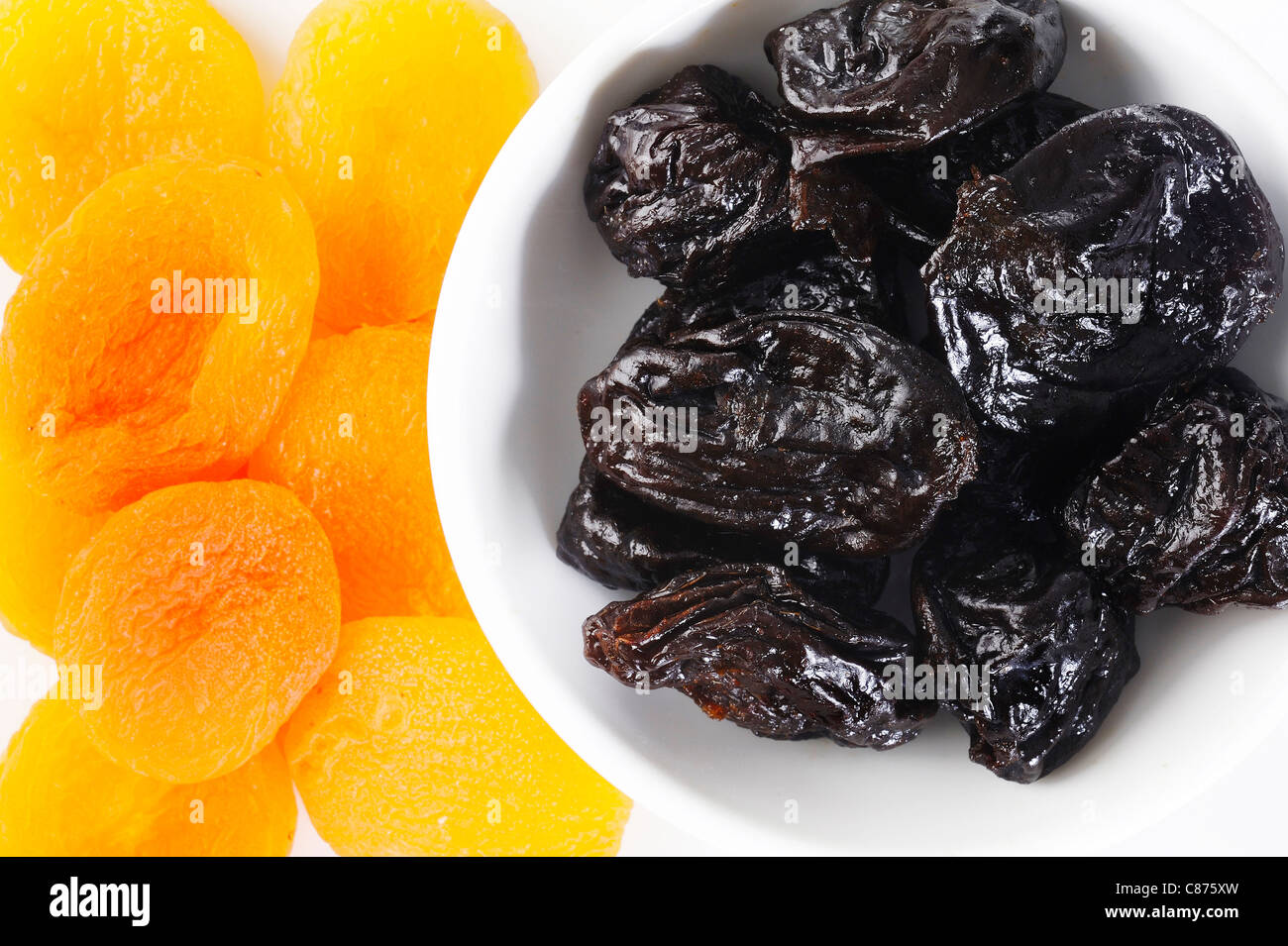 Dried plums and apricots - Stock Image
