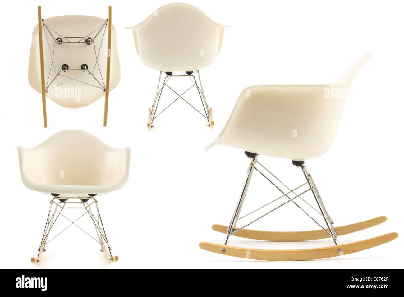 modern design classic eames rocking chair set on white background Stock Photo