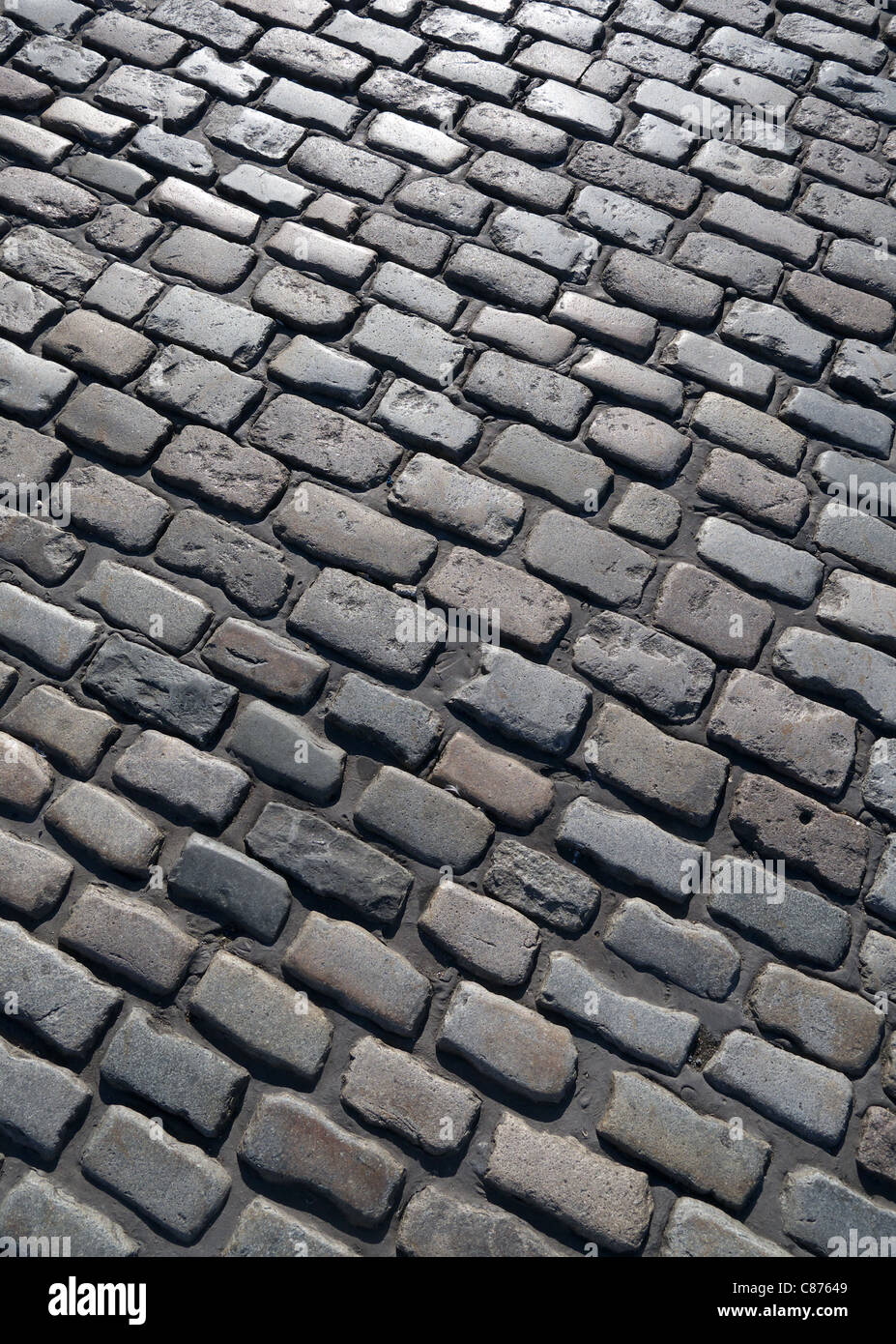 Close up of an old cobblestone street in Plymouth, Devon UK. - Stock Image