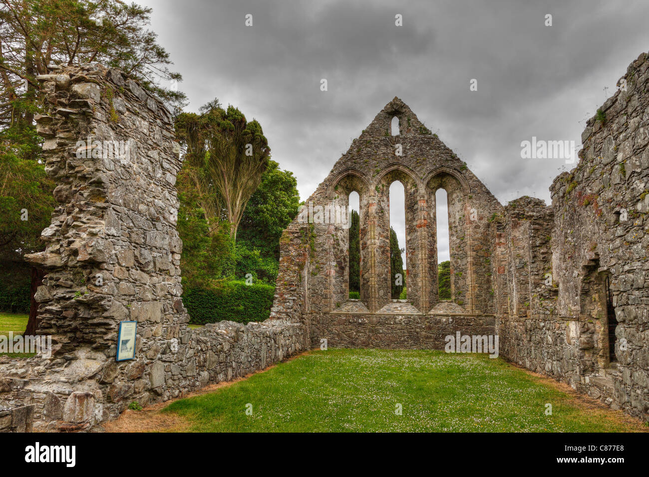 United Kingdom, Northern Ireland, County Down, View of ruined Grey Abbey - Stock Image