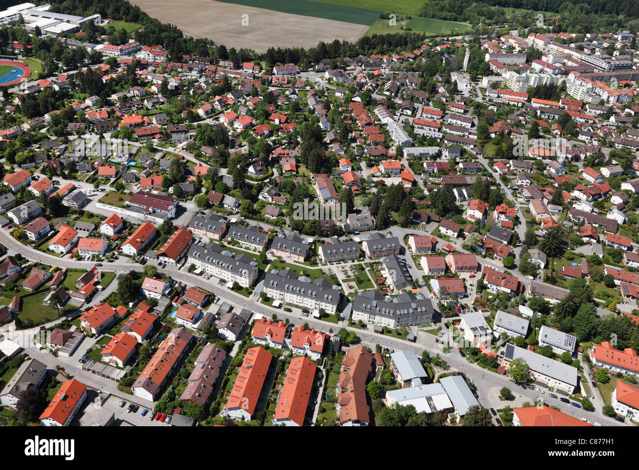 Germany, Bavaria, Upper Bavaria, Geretsried, Aerial view of town Stock Photo