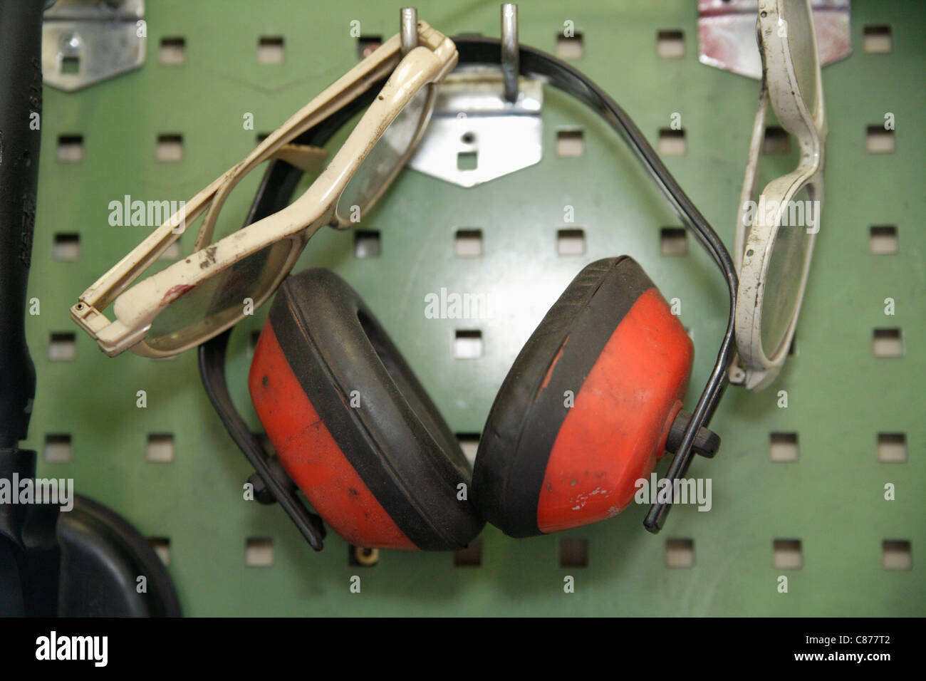 Ear Protectors Stock Photos Images Alamy Wiring Harness Pegboard Germany Ebenhausen Close Up Of Safety Glasses And On In Repair