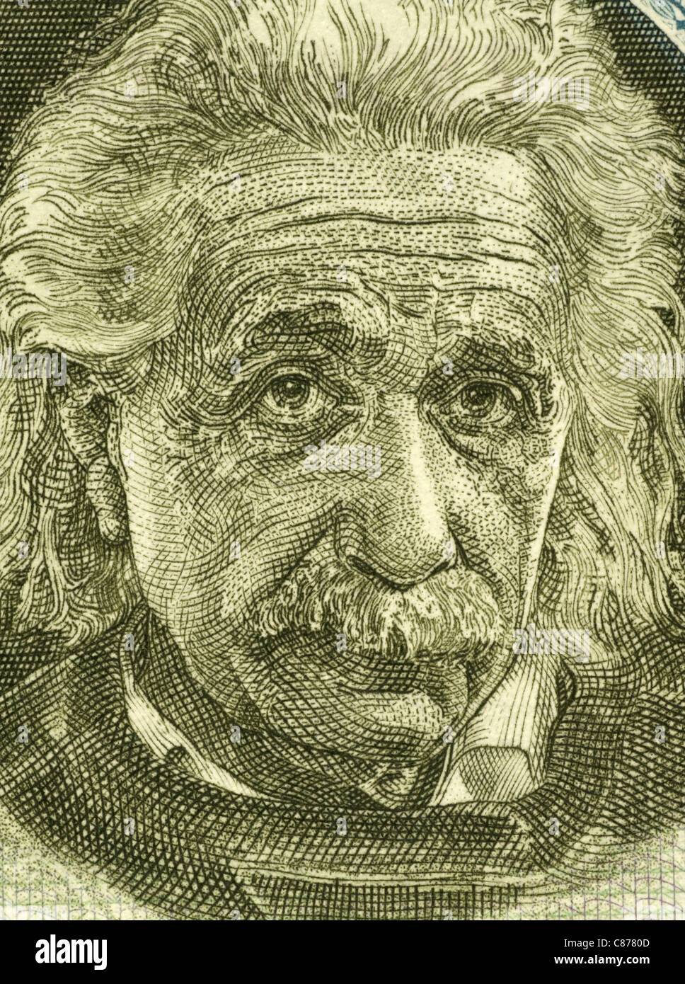 Albert Einstein (1879-1955) on 5 Pounds 1968 Banknote from Israel. German born theoretical physicist regarded as - Stock Image
