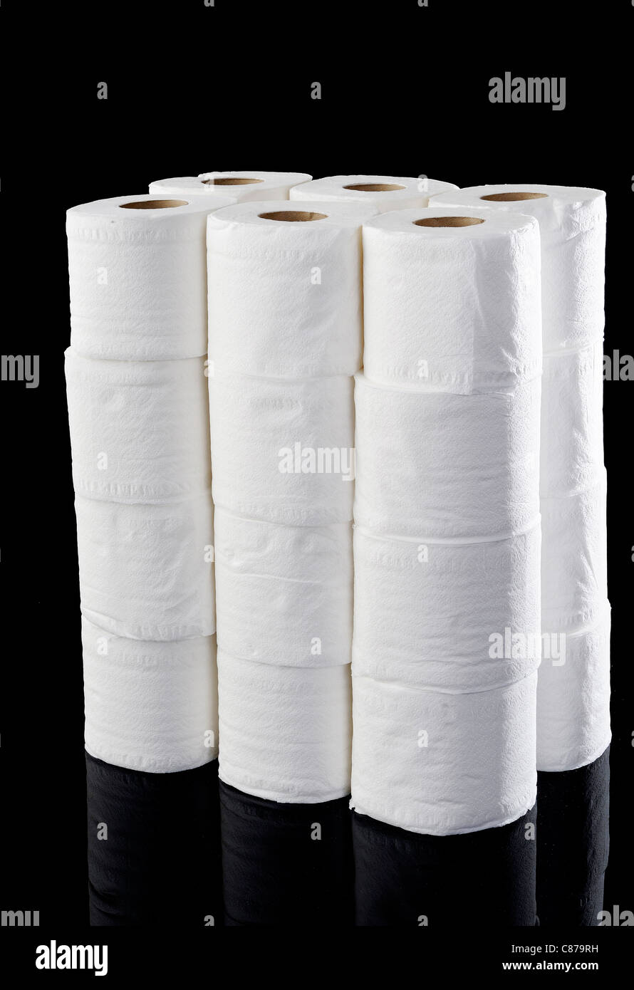 roll tissue on black background Stock Photo