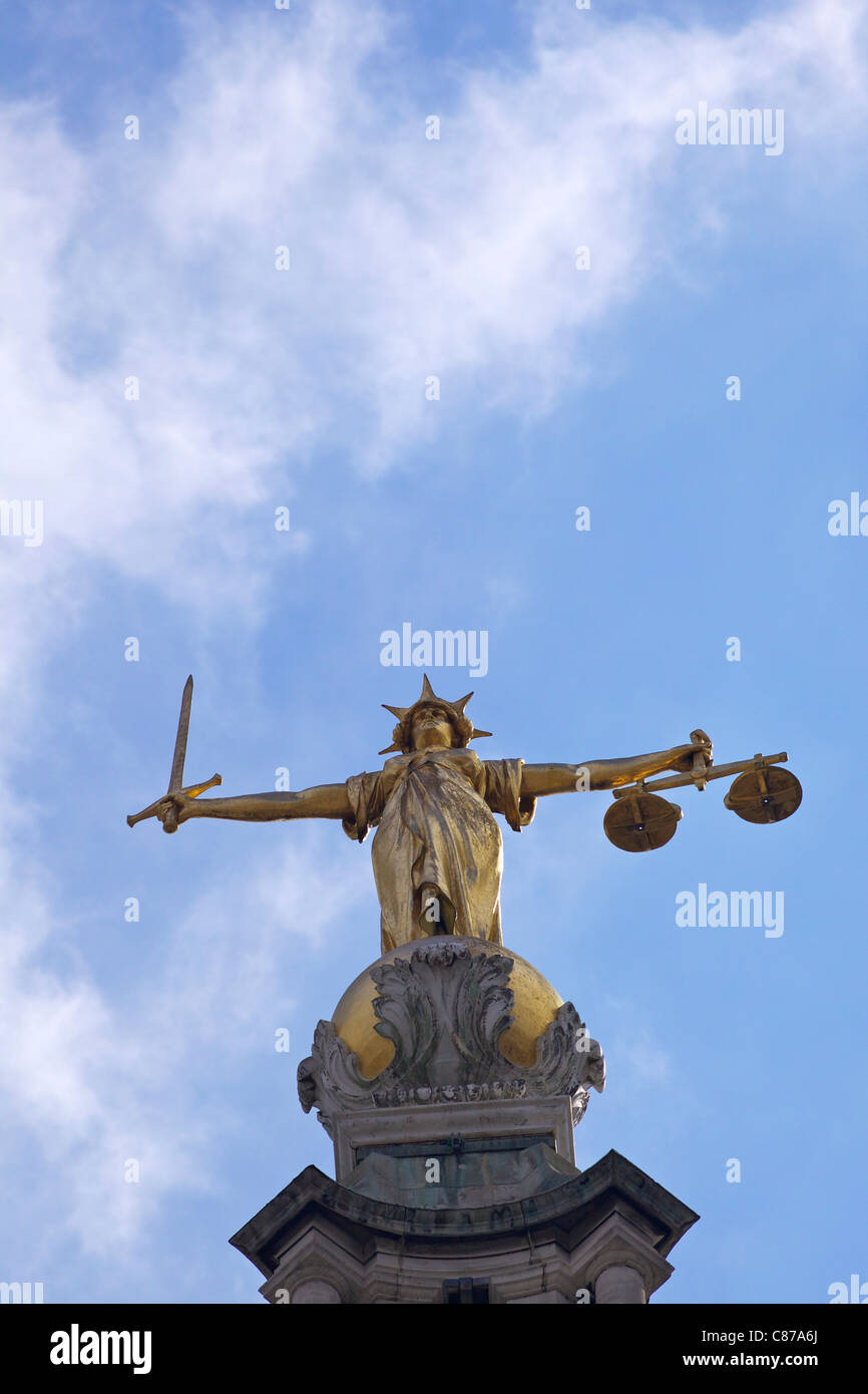 Statue of Lady Justice with sword, scales and blindfold, Old Bailey, Central Criminal Court, London, England, UK, - Stock Image